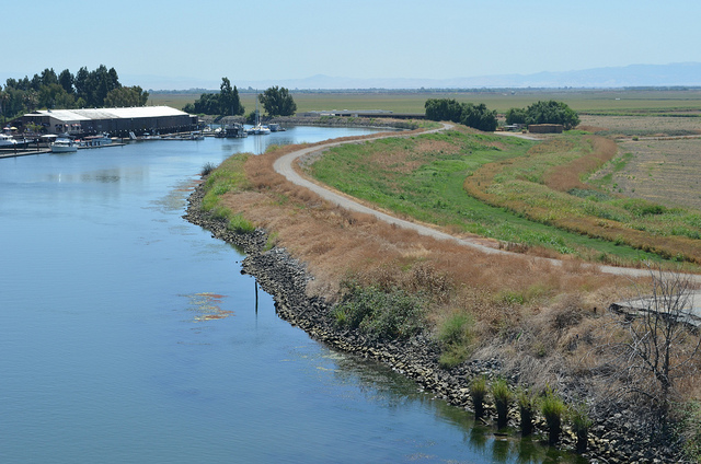 The water level behind a levee in California's Sacramento-San Joaquin Delta, shown Aug. 16, 2011, is higher than the surrounding land, showing the risk of flooding throughout the region. Under the CALFED Levee Stability Program, the U.S. Army Corps of Engineers Sacramento District is studying how best to quickly fix urgent levee problems while a longer-term plan for reducing flood risk throughout the Delta is developed. (U.S. Army Photo/Chris Gray-Garcia)